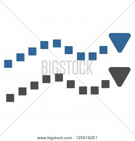 Dotted Trend Lines vector toolbar icon. Style is bicolor flat icon symbol, cobalt and gray colors, white background, square dots.