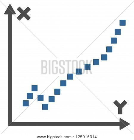 Function Plot vector toolbar icon. Style is bicolor flat icon symbol, cobalt and gray colors, white background, square dots.