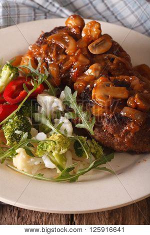 Salisbury Steak With Fresh Vegetables Close-up. Vertical