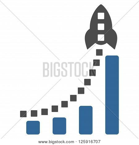 Rocket Business Bar Chart vector toolbar icon. Style is bicolor flat icon symbol, cobalt and gray colors, white background, square dots.