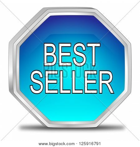 decorative glossy blue Bestseller button 3D Illustration