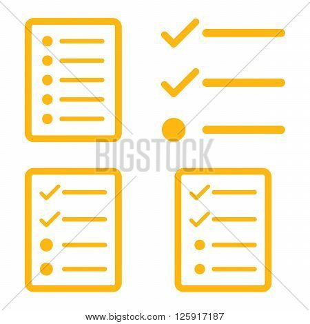 List vector icons. Style is yellow flat symbols on a white background.
