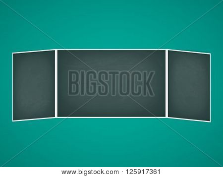 Vector illustration of school chalkboard folding. Green board.