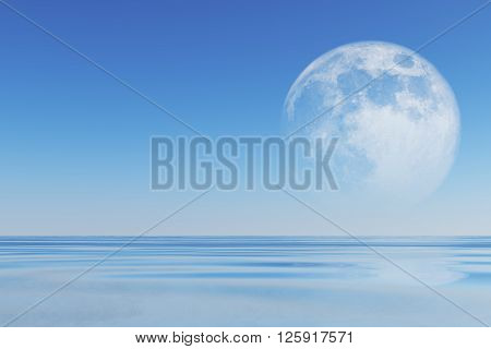 big full moon over sea. Elements of this image furnished by NASA