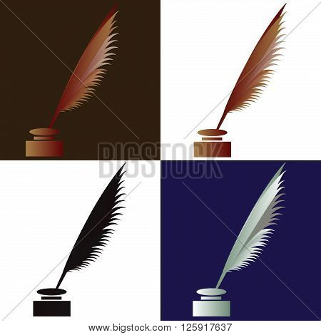 feather with ink icon graphic for manuscripts old paper