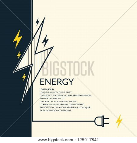 Flat abstract background with the image of lightning and electric wire with plug. Vector illustration.
