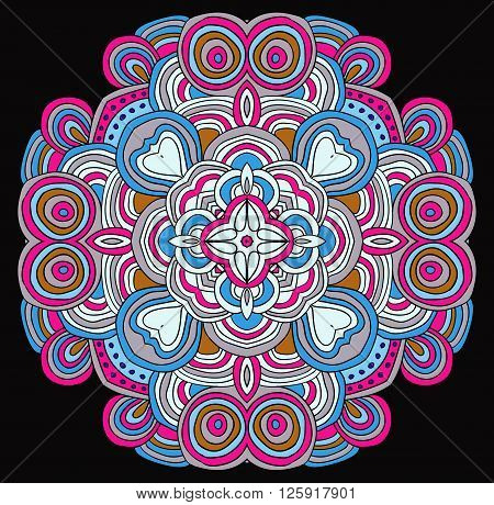 Round symmetrical pattern in blue, white and fuchsia colors. Mandala. Kaleidoscopic design.