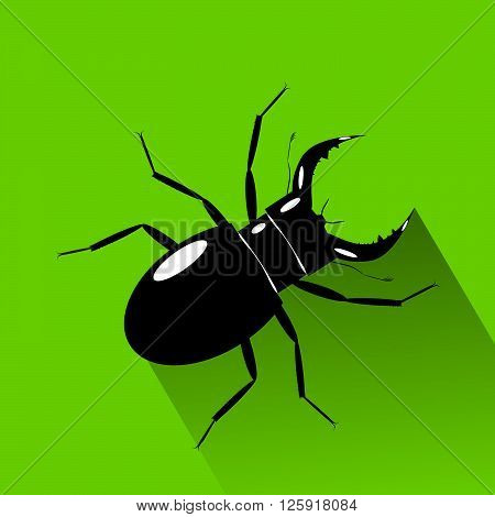 icon bug. A black bug with horns on a green background