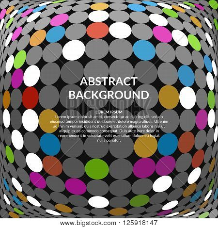Abstract 3D Sphere. Vector mosaic background. Volume bright dotted background in disco style.