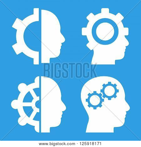 Intellect Gears vector icons. Style is white flat symbols on a blue background.