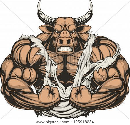 Vector illustration of a strong bull with big biceps, on a white background