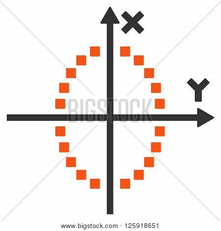Ellipse Plot vector toolbar icon. Style is bicolor flat icon symbol, orange and gray colors, white background, square dots.