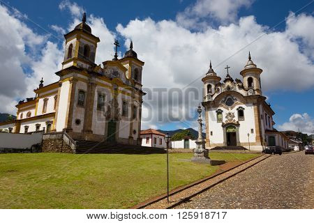 Church in the beautiful old town in colonial style Mariana and sky and clouds at background Brazil