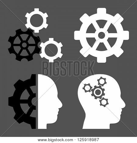 Intellect Gears vector icons. Style is bicolor black and white flat symbols on a gray background.