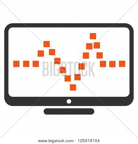 Pulse Monitoring vector toolbar icon. Style is bicolor flat icon symbol, orange and gray colors, white background, square dots.