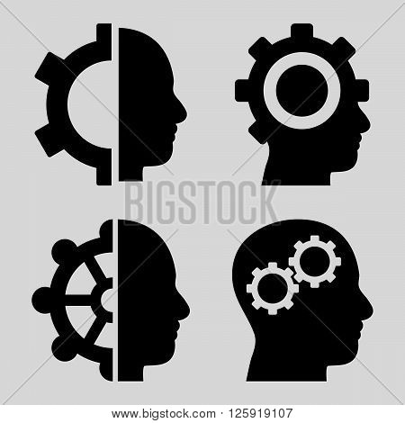 Intellect Gears vector icons. Style is black flat symbols on a light gray background.
