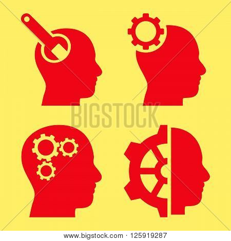 Brain Tools vector icons. Style is red flat symbols on a yellow background.