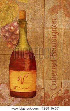 A vintage style collage with watercolor drawings of a bottle of red wine grapes and oak leaves and the words 'Cabernet Sauvignon' written over the texture of an aged oak barrel