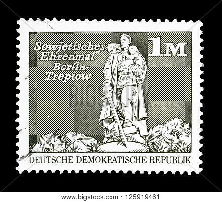 GERMAN DEMOCRATIC REPUBLIC - CIRCA 1973 : Cancelled postage stamp printed by German Democratic Republic, that shows  Soviet monument in Berlin.