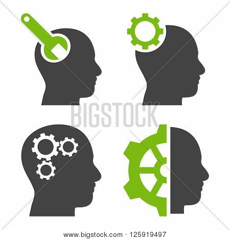 Brain Tools vector icons. Style is bicolor eco green and gray flat symbols on a white background.