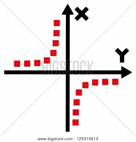 Hyperbola Plot vector toolbar icon. Style is bicolor flat icon symbol, intensive red and black colors, white background, square dots.