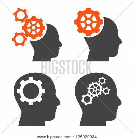 Intellect Gears vector icons. Style is bicolor orange and gray flat symbols on a white background.