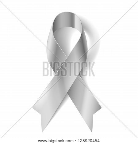 Silver awareness ribbon as symbol of Parkinson Disease ovarian cancer brain disorders and disabilities