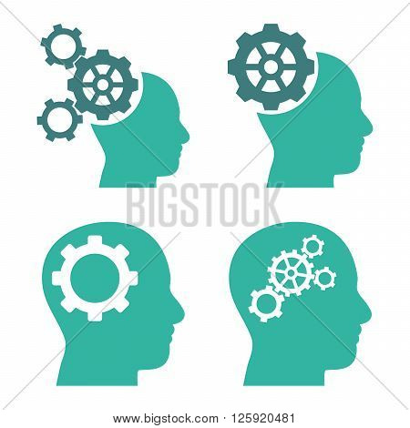 Intellect Gears vector icons. Style is bicolor cobalt and cyan flat symbols on a white background.
