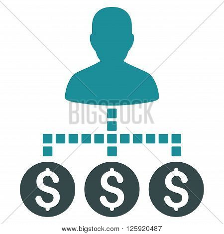 Client Payments vector toolbar icon. Style is bicolor flat icon symbol, soft blue colors, white background, square dots.