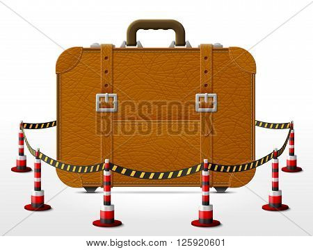 Suitcase located in restricted area. Travel bag surrounded barrier tape. Qualitative vector illustration about travel luggage tourism accessory vacation baggage trip etc. It has transparency masks blending modes