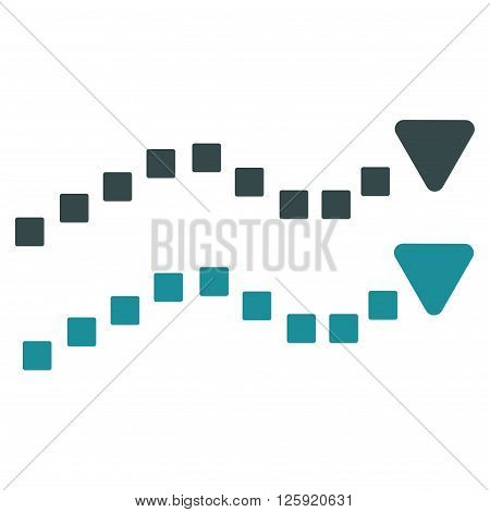Dotted Trend Lines vector toolbar icon. Style is bicolor flat icon symbol, soft blue colors, white background, square dots.