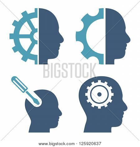 Brain Tools vector icons. Style is bicolor cyan and blue flat symbols on a white background.