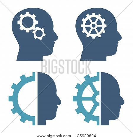 Intellect Gears vector icons. Style is bicolor cyan and blue flat symbols on a white background.