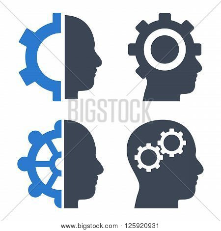 Intellect Gears vector icons. Style is bicolor smooth blue flat symbols on a white background.