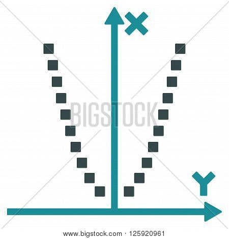 Parabole Plot vector toolbar icon. Style is bicolor flat icon symbol, soft blue colors, white background, square dots.