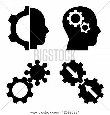 Intellect Gears vector icons. Style is black flat symbols on a white background.
