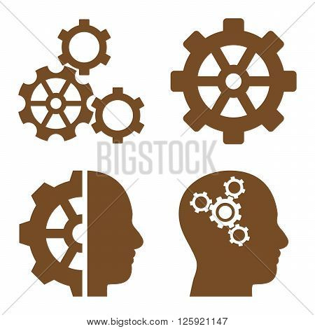 Intellect Gears vector icons. Style is brown flat symbols on a white background.