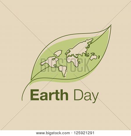 earth day line art style logo icon vector