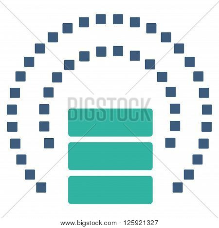 Database Sphere Shield vector toolbar icon. Style is bicolor flat icon symbol, cobalt and cyan colors, white background, square dots.