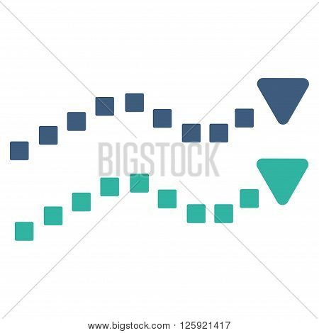 Dotted Trend Lines vector toolbar icon. Style is bicolor flat icon symbol, cobalt and cyan colors, white background, square dots.