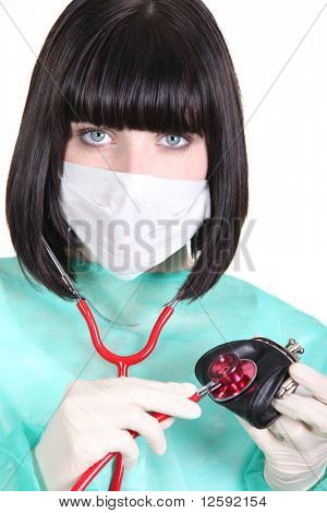 Nurse with stethoscope and wallet
