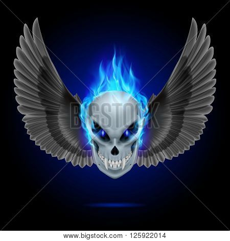 Mutant skull with long fangs blue flame and black wings