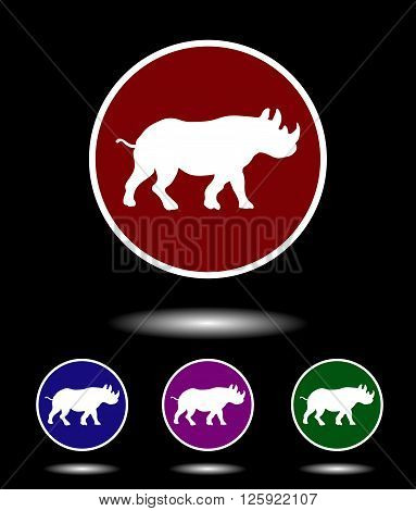 Vector Icon Logo Set 3 In 1 With Modern Vintage White Rhino On Red, Blue, Violet And Green Backgroun