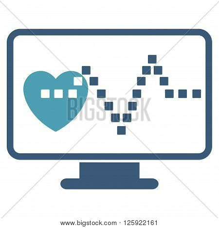 Cardio Monitoring vector toolbar icon. Style is bicolor flat icon symbol, cyan and blue colors, white background, square dots.