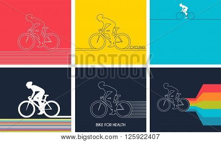 Cyclists on bikes,  icons set isolated on colorful background, vector illustration. People riding bikes. bikers and bicycling. sport and exercise