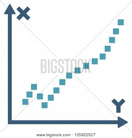 Function Plot vector toolbar icon. Style is bicolor flat icon symbol, cyan and blue colors, white background, square dots.