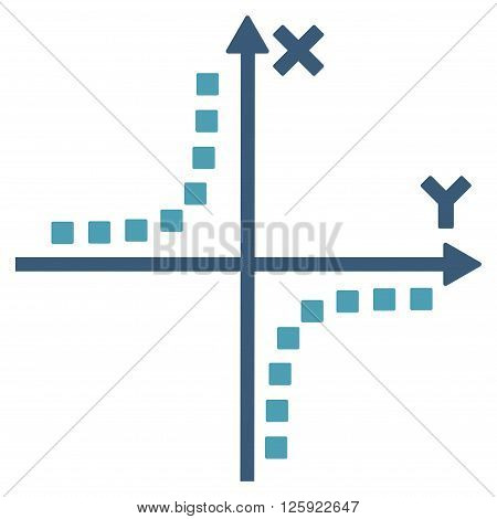 Hyperbola Plot vector toolbar icon. Style is bicolor flat icon symbol, cyan and blue colors, white background, square dots.