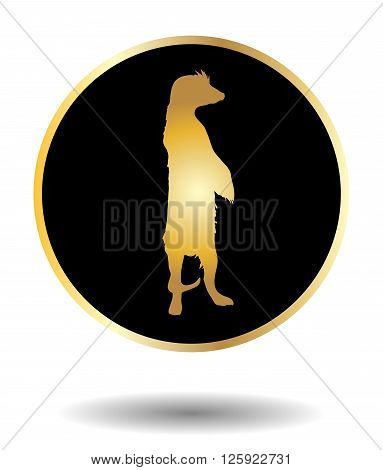 Vector Golden And Black Icon With Suricate Isolated On White With Shadow. Vector Illustration