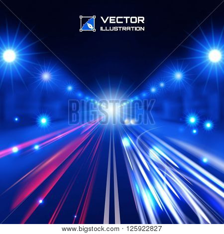 blue tint night road with glowing lights bokeh and speed lines