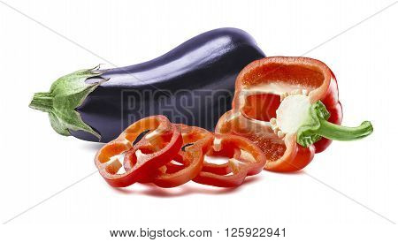 Aubergine red pepper slices isolated on white background as package design element